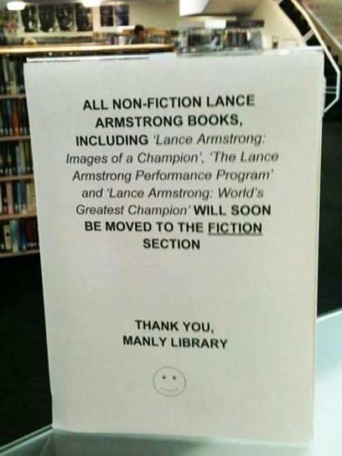 The prank notice in Sydney's Manly Library. Photo Facebook