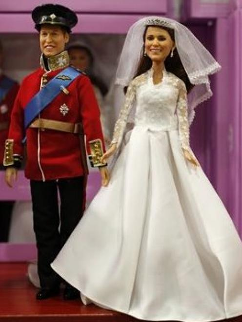 The Prince William and Catherine Middleton dolls that have gone on sale in Hamleys toy store in...