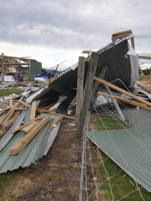 The remains of a hangar at the Greymouth aerodrome. Photo Greymouth Star