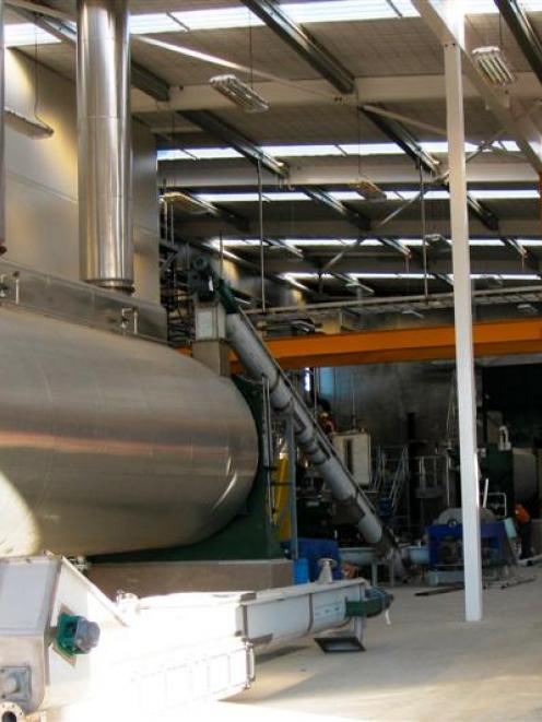 The rendering drier in the new rendering plant at Alliance Group's Lorneville plant. Photo by...
