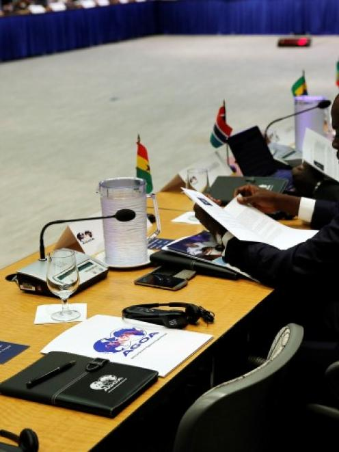 The representative from Guinea's seat remains empty during the opening session at the AGOA Forum...