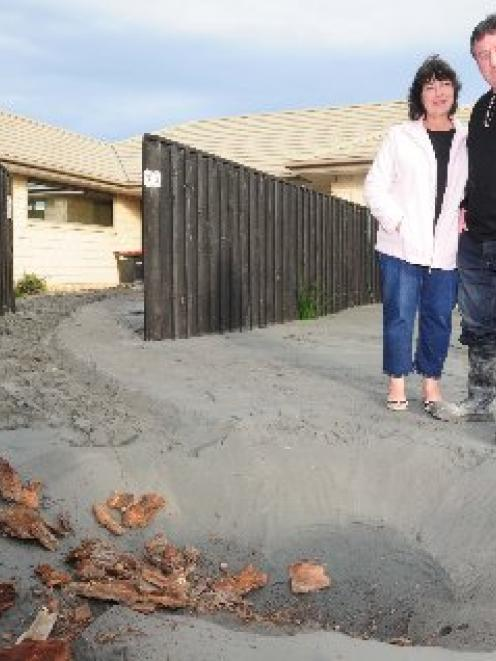 The result of silt volcanoes outside Maxine and Barrie Smith's Bexley home. Photo by Craig Baxter.