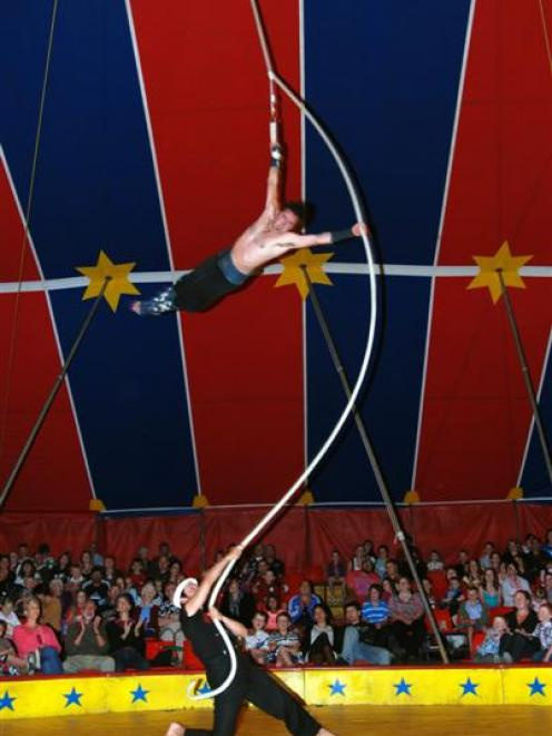 The Rope Warrior, Michael Armstrong, of Christchurch, dazzles in mid-air, while Nick Name, of...