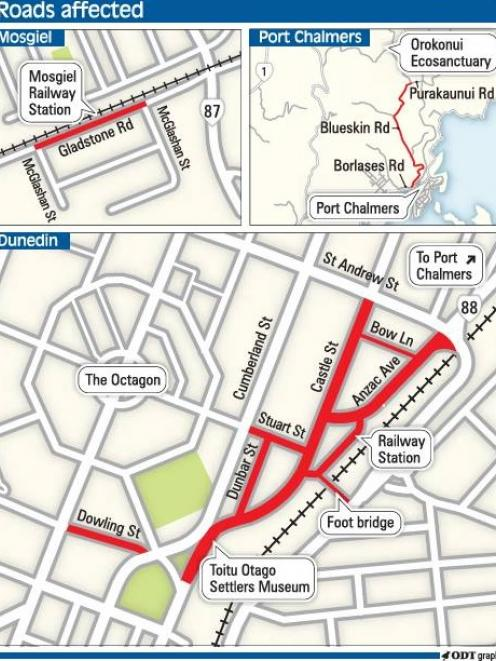 The Royal visit will involve closures and delays to traffic today. Click on graphic to enlarge