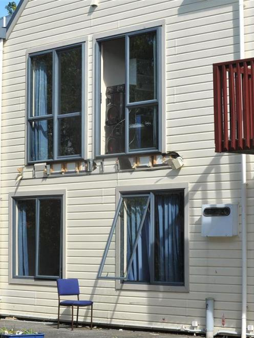 The scene at 598 Castle St where a balcony collapsed on Friday night. Photo by Christine O'Connor.
