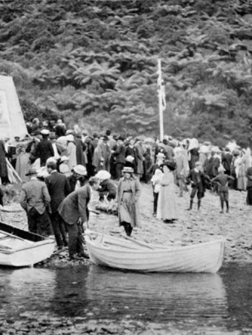 The scene at the unveiling of the Captain Cook Memorial, Queen Charlotte Sound, visited by Cook...
