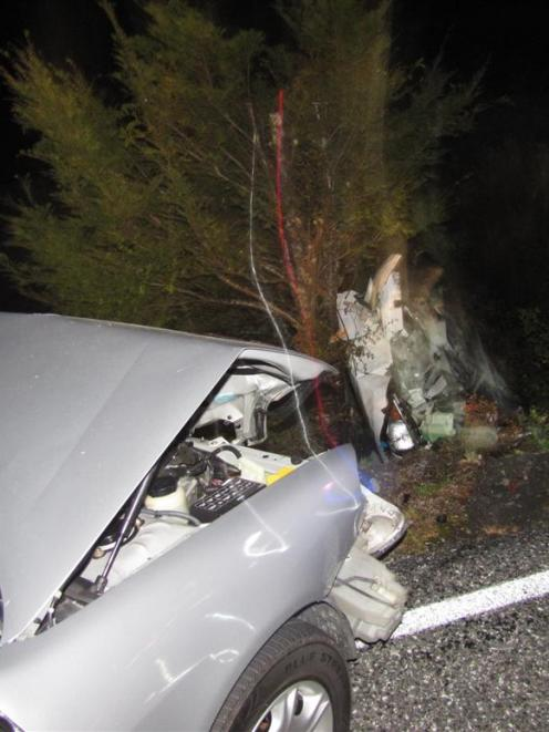 The scene at Tuesday night's crash near Makarora. Photo by Mark Price.