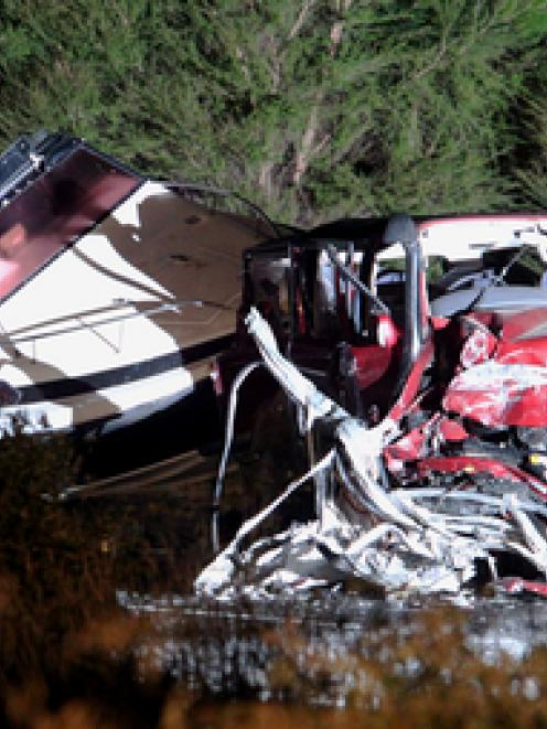 The scene of the crash on State Highway 2, near the townships of Raupunga and Mohaka. Photo /...