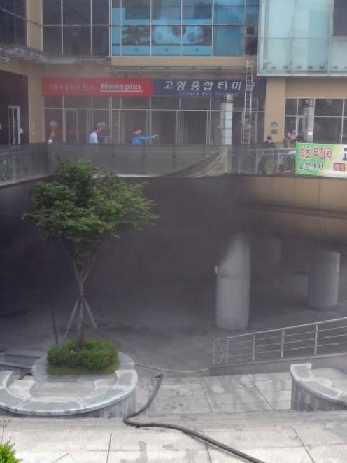 The scene of the deadly fire at the bus terminal and shopping mall complex in Goyang. REUTERS...