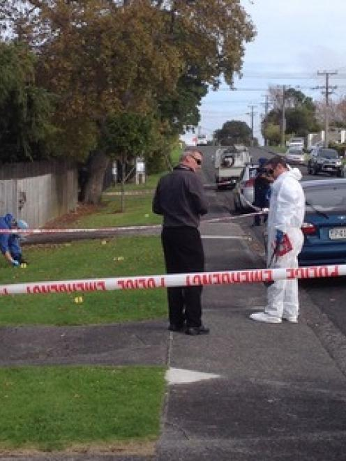 The scene on Salisbury Road. Photo: NZ Herald/Brendan Manning
