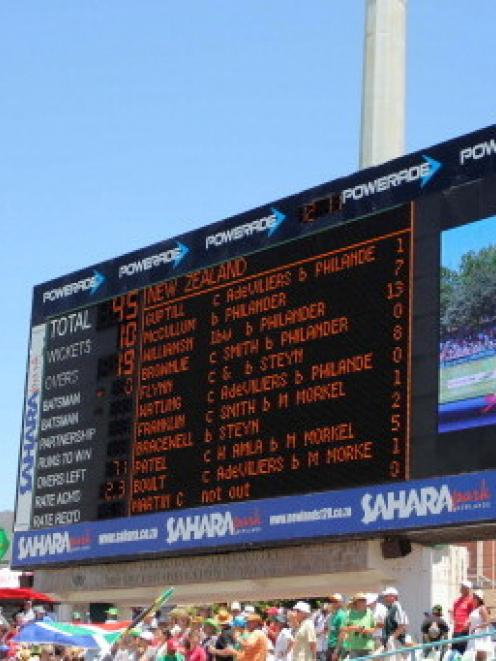 The scoreboard shows the New Zealand first innings total on day one of the first test against...