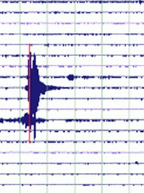 The seismometer at Great Barrier Island shows yesterday's recordings of two quakes in Auckland....