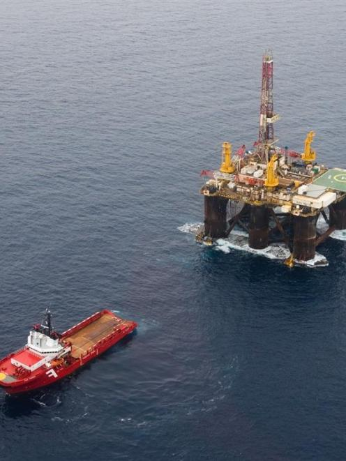 The semi-submersible rig Kan Tan IV in Taranaki for New Zealand Oil & Gas. Photo supplied.