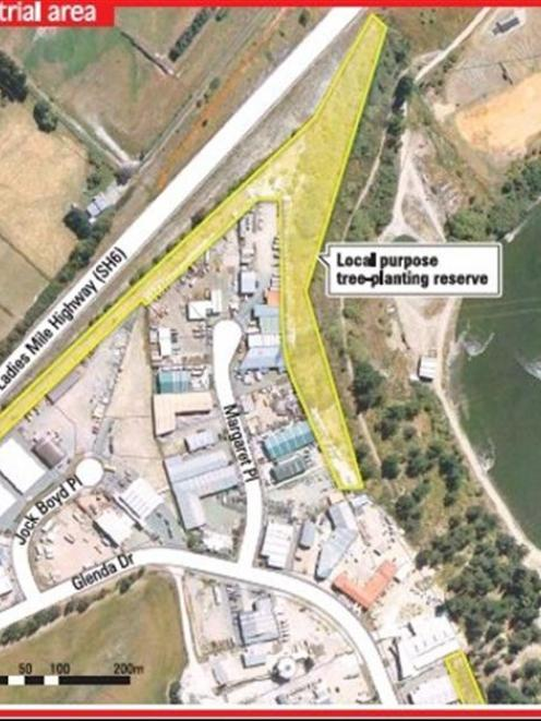 The shaded area shows part of the reserve along the Frankton industrial area, where a fencing...