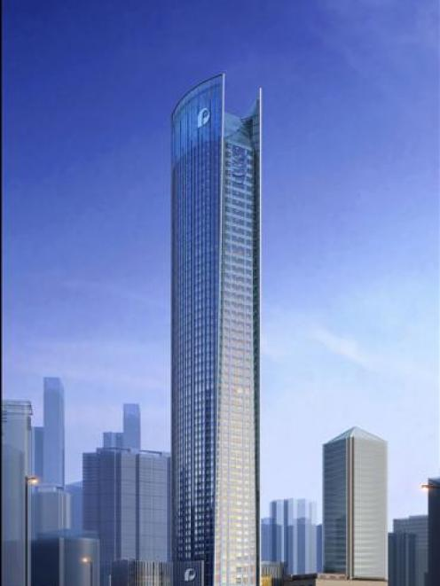 The Shangri-la Hotel in Chongqing, China, is being built by Diamond Heights Construction...