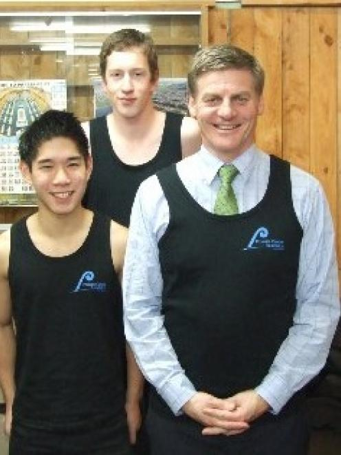 The South Otago High School young enterprise group Platinum Enterprise is selling singlets to...