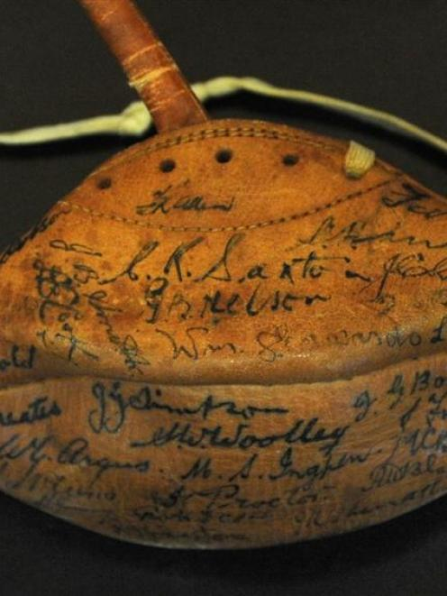 The souvenir ball signed by the post-war rugby union Kiwis that toured Europe.