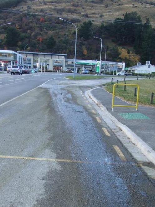 The stock effluent spill beside State Highway 6 near the Frankton Golf Course earlier this month....