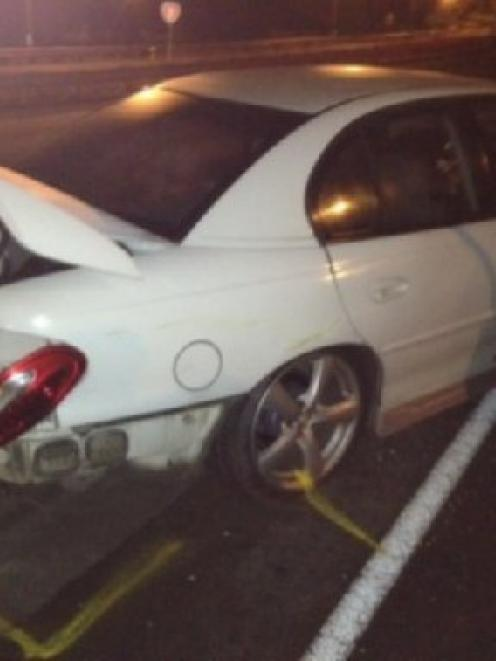 The stolen car involved in the chase.