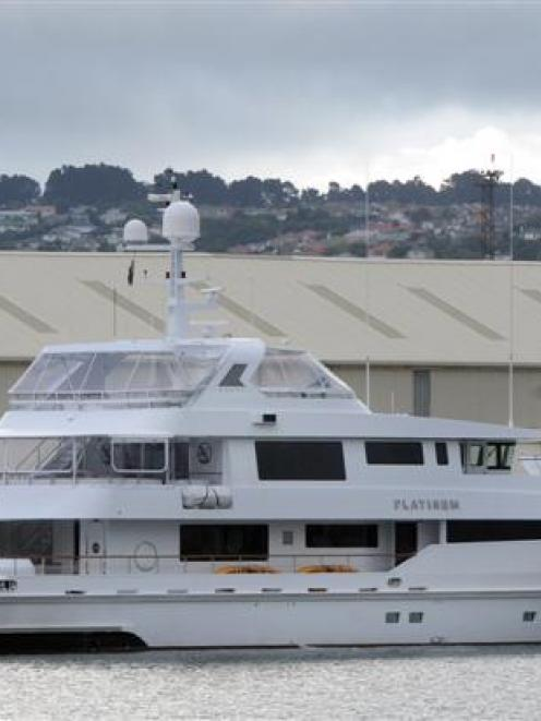 The superyacht Platinum, berthed at Dunedin's Steamer Basin last night.  Photo by Craig Baxter.