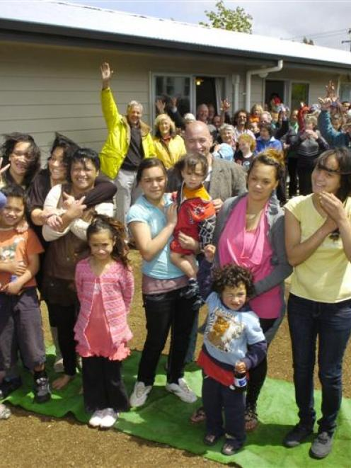 The Te Moananui family, ready to move into their new home, recently completed by Habitat for...