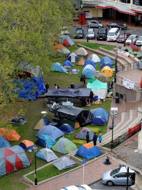 The tent city on the 9th day of the protest.