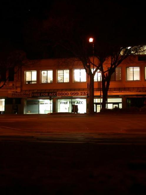 The TrustPower and Pulse Business Solutions building in Oamaru last night, lit up but empty...