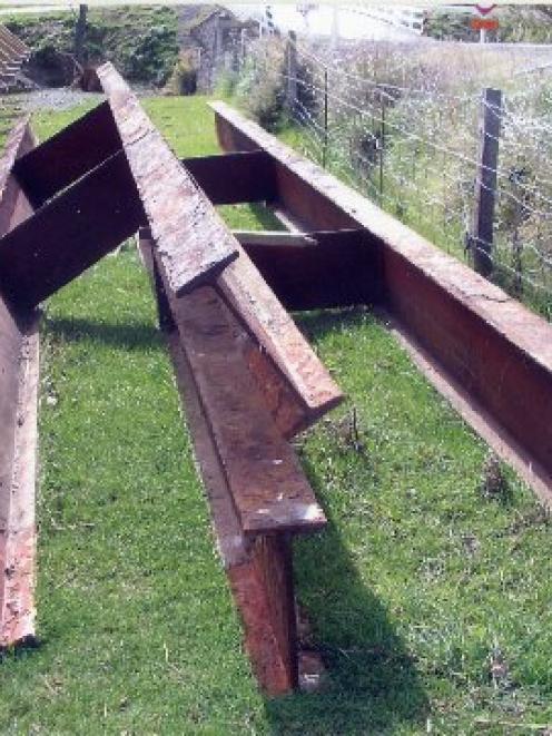 The Tuapeka Mouth pedestrian bridge I-beams lie alongside the the old bridge. Photo supplied.