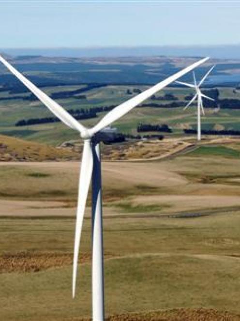 The turbines turn at TrustPower's Mahinerangi wind farm, in the hills about 70km west of Dunedin....