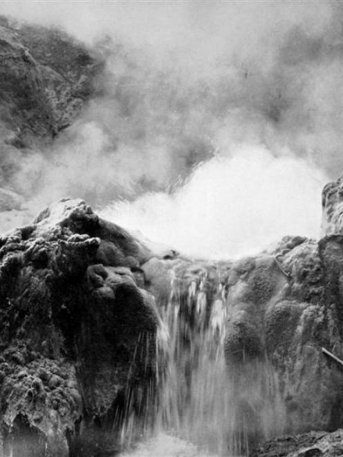 The twin geysers, Wairakei Valley, in the centre of the hot lakes district of the North Island. -...