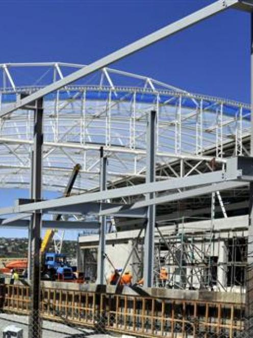 The University of Otago's building at the Forsyth Barr Stadium starts to take shape. Photo by...