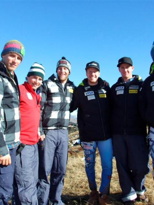 The US men's ski team,   (from left) Tommy Ford,    Nolen Kasper, Will Brandenburg, Ted Ligety,...