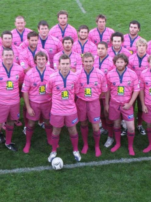 The Wakatipu premier rugby team sporting its pink playing strip. Photo by Joanne Carroll.