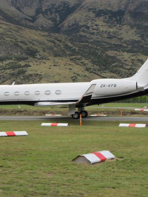 The Wellington registered Gulfstream GV-SP aircraft, at Queenstown Airport yesterday morning,...