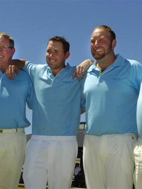 The winners of the men's national fours final are (from left) Lloyd Gallop, Matthew Gallop, Ali...