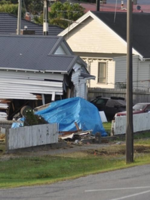 There was significant damage to the house, however no one was home at the time. Photo / Greymouth...