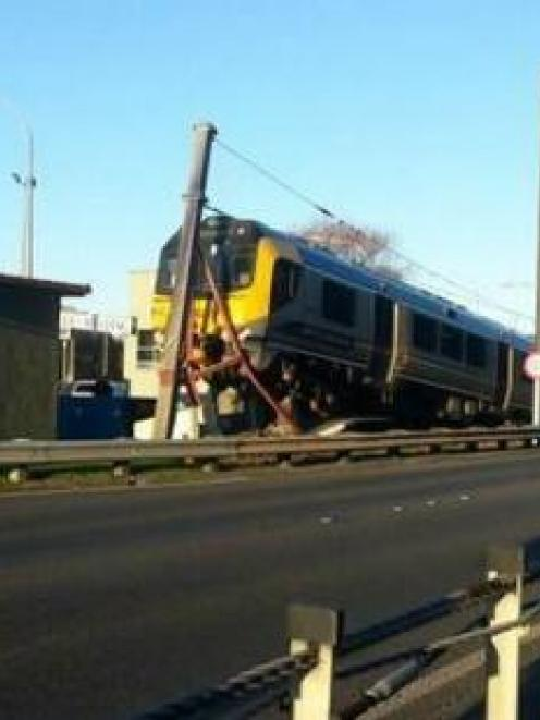 There were no serious injuries after the train overshot the platform and hit the pole. Photo /...
