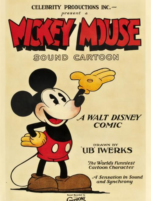 This 1928 poster Mickey Mouse poster fetched more than $US100,000 at auction. Photo by Reuters