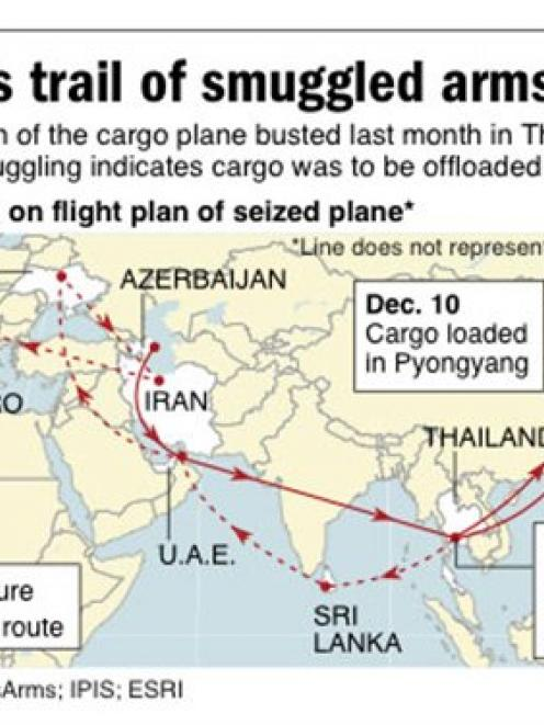This AP map shows destinations on flight plan of cargo plane seized in Bangkok for weapons...