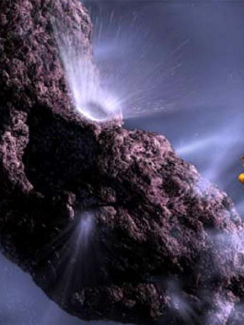 This artist's impression shows the Deep Impact spacecraft as it fires an impactor into comet...