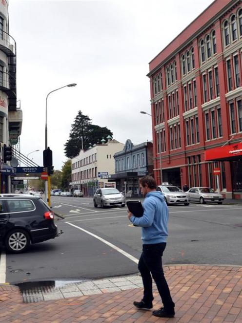 This traffic light on the corner of lower Stuart and Cumberland Sts in central Dunedin was...