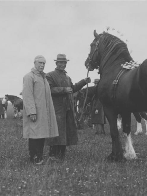Thomas Logan (sen), Lord Bledisloe and groom Matt Aird at Otama in 1932. Photo supplied.