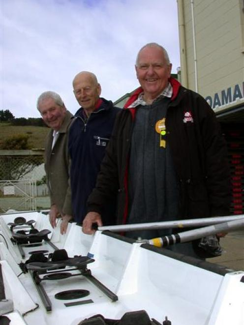 Three members of the Oamaru Rowing Club coxed four which represented New Zealand and won the gold...