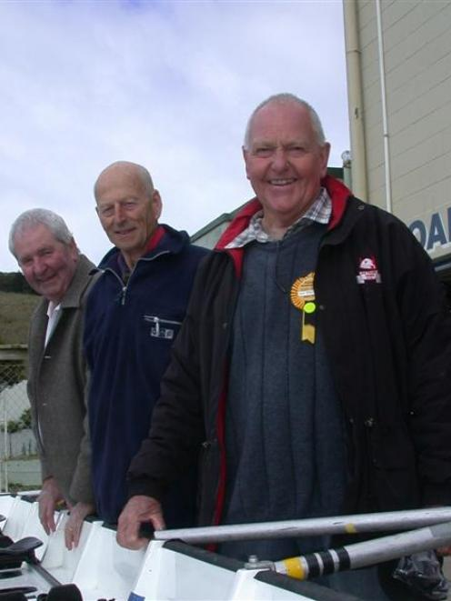 Three members of the Oamaru Rowing Club gold medal winning coxed four at the Perth British Empire...