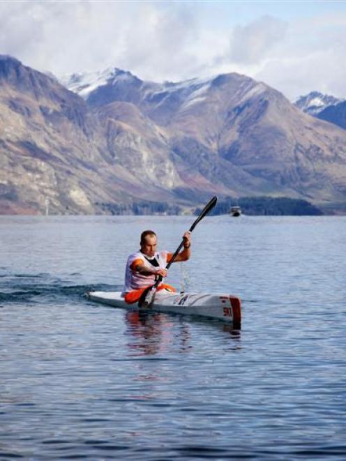 Three-time Peak to Peak winner Dougal Allan takes charge on the kayak leg of Queenstown's R & R...