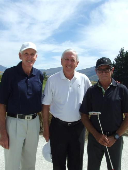 Three-time US Open winner Hale Irwin is flanked by Sir Bob Charles (left) and course owner Sir...