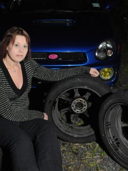 Three wheels, the chassis and the floor of Nicole Laidler's Subaru Impreza were damaged badly...