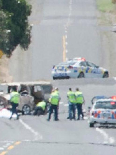 Through a heat haze, the horrific scene of a fatal crash in Taranaki, in which a van ploughed...