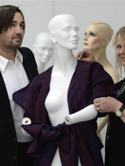 Tim Pollock, of the Dunedin Public Art Gallery, and fashion designer Donna Tulloch at the Dunedin...