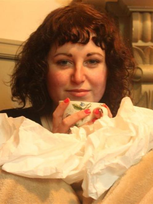 Tissues and tea are the key for Dunedin student Britt Pickett as she recovers from whooping cough...